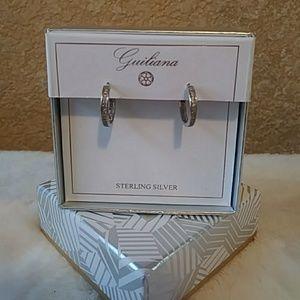 Sterling Silver Simple Hoop Earrings CZ